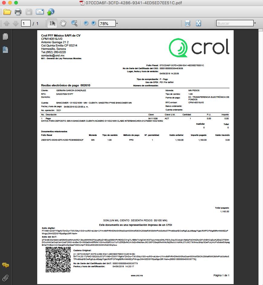 recibo electrónico de pago crol centro de ayuda